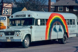 Free Spirit Press rainbow bus