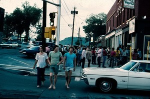 Crowds of young people on the streets of Turners Falls, a rare occurrence before -- and after -- the Renaissance Community's Summer of 1975