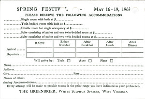 Greenbrier Spring Festival reply card