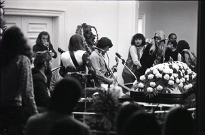 Duane Allman's funeral: from left, Dr. John, Barry Oakley, Thom Doucette, Dickey Betts, Delaney Bramlett, and Gregg Allman, while mourners look on