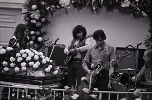Duane Allman's funeral: from left, Barry Oakley, Delaney Bramlett, Dickey Betts, and Butch Trucks, with Allman's casket in the foreground