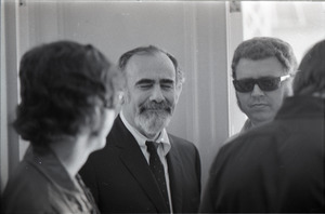 Duane Allman's funeral: Jerry Wexler (c) with two unidentified men
