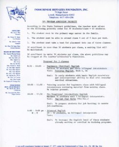 ESL Program Admission Priority and Class Proposal, [1981]
