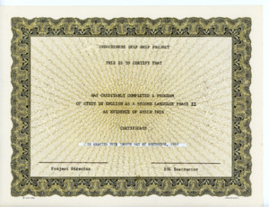 English as a Second Language Phase II completion certificate, 1982-09-08