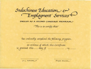 English as a Second Language program completion certificate, 1982?