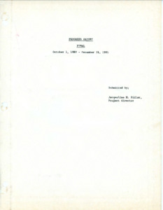 Final Progress Report of Indochinese Refugees Foundation, Inc. to the Office of Refugees Resettlement, 1980-1981