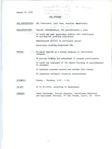 Jobs opening post for part time ESL Instructor, 1983-08-29