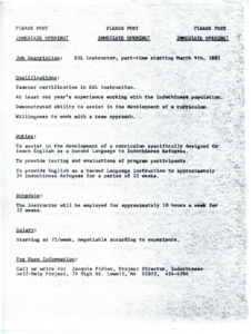 Job opening post for part time ESL Instructor, 1981