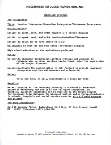 Job opening post for part time Laotian, Cambodian, and Vietnamese Interpreters, 1981?