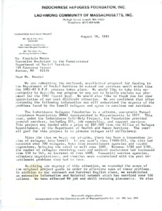 Funding proposal to the Massachusetts Department of Social Services, 1981-08-18