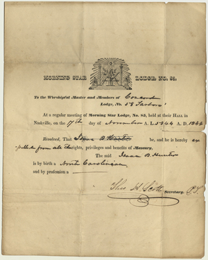 Communication from Morning Star Lodge, No. 85, to Concord Lodge, No. 58, on the expulsion of Isaac B. Hunter