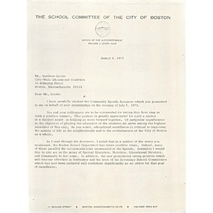Letter, Citywide Educational Coalition, August 6, 1973.