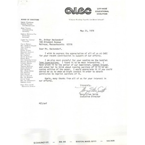 Letter, Arthur Hackendorf, May 23, 1978.