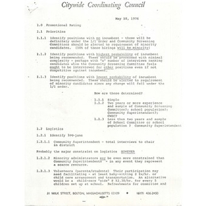 Citywide Coordinating Council report, May 18, 1976.