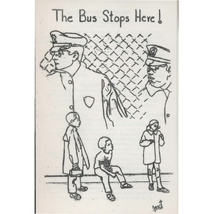 "Church service pamphlet, ""The bus stops here!"""