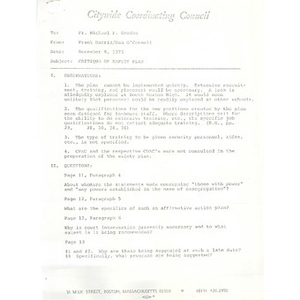 Citywide Coordinating Council critique of safety plan, December 8, 1975.