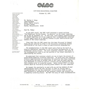 Letter to Marion J. Fahey from Citywide Educational Coalition, October 12, 1976.