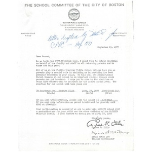 Letter to parents regarding involvement in the Racial Ethnic Parent Council in the 1977-78 school year.