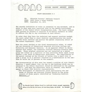 Citywide Parents' Advisory Council memo for parent role identification, September 22, 1975.