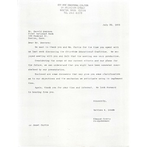 Letter, First National Bank, July 23, 1973.