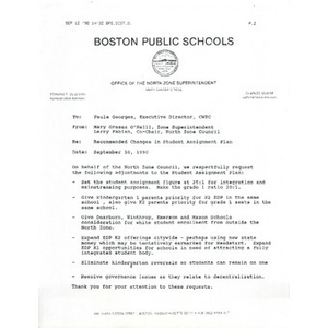 Letter, recommended changes in student assignment plan, September 10, 1990.