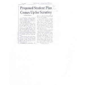 Proposed student plan comes up for scrutiny.