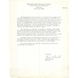 Letter, Massachusetts Research Center.