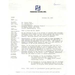 Letter, Carmen Pola and Barbara Meyers, October 13, 1981.