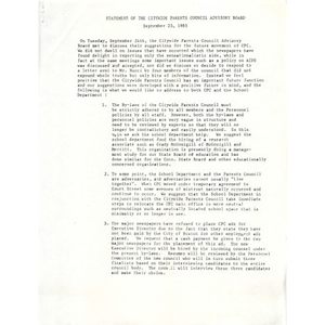 Statement of the Citywide Parents Council advisory board, September 25, 1985.