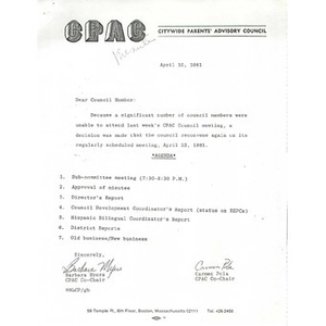 Citywide Parents' Advisory Council agenda and minutes, March 31, 1981.
