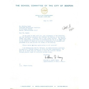 Letter, Citywide Educational Coalition, July 10, 1973.