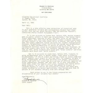 Letter, Citywide Educational Coalition, April 11, 1990.