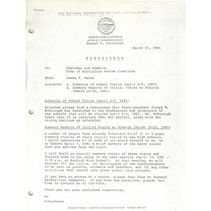 Memo, Code of Discipline review committee, March 27, 1981.