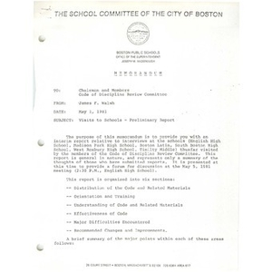 Memo, visits to schools - preliminary report, May 1, 1981.