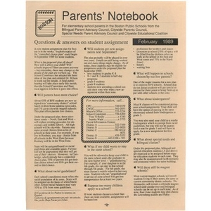 Parents' Notebook February 1989.