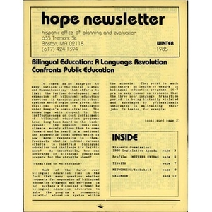 HOPE newsletter Winter 1985.