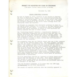 School Committee statement, November 23, 1981.