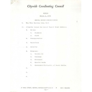 Citywide Coordinating Council agenda, March 1, 1978.