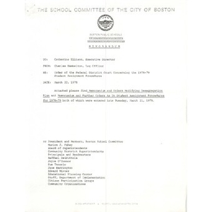 Memo, order of the Federal District Court concerning the 1978 - 1979 student assignment procedures.