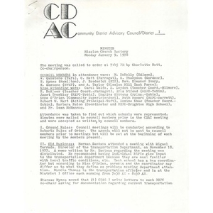 Meeting minutes, Community District Advisory Council - District I, January 9, 1978.