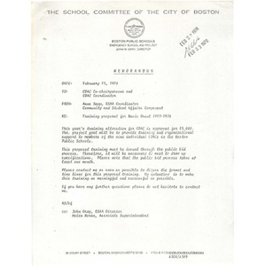 Memo, training proposal for basic grant 1977 - 1978.