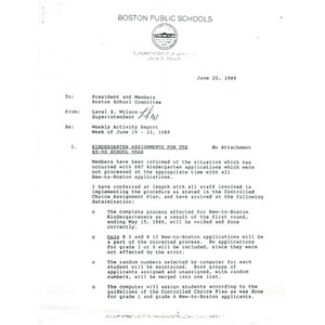 Letter, weekly activity report, week of June 19 - 23, 1989.