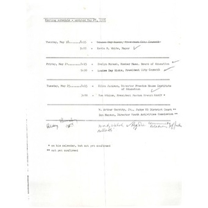 Meeting agenda and notes, Commission on Violence, May 25, 1976.