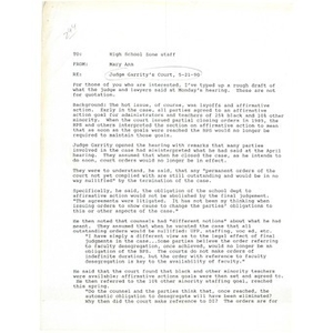 Memo, Judge Garrity's court, 5-21-90.