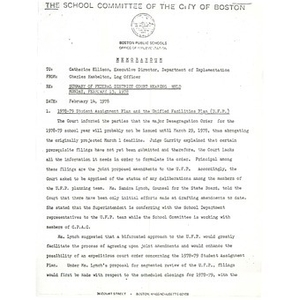 Memo, summary of federal district court hearing held Monday, February 13, 1978.