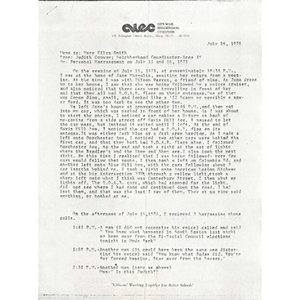 Memo, personal harassment on July 15 and 16, 1976.