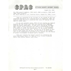 Memo, court hearing the U.S. District Court, August 27, 1981.