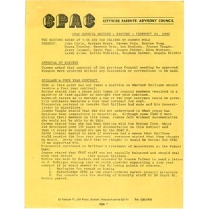CPAC council meeting minutes, February 24, 1982.