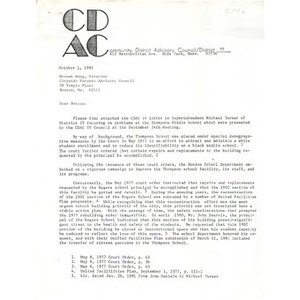 Letter, Citywide Parents' Advisory Council, October 1, 1981.