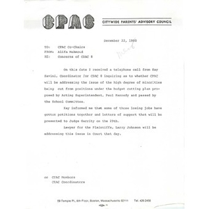 Letter, Concerns of CDAC 8.
